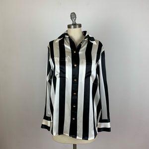 Balmain x H&M Stripe Silk Button Down